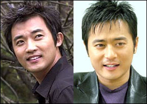Actor Ahn Jae-wook (left) and Jang Dong-gun