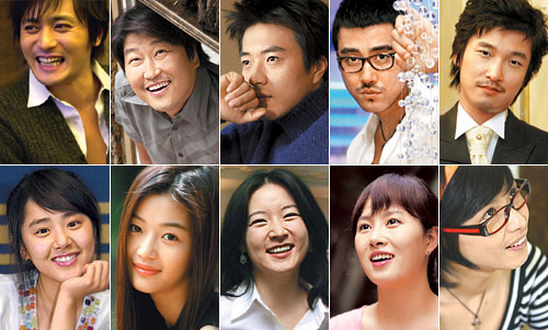 Clockwise from top left, Jang Dong-gun, Song Kang-ho, Kwon Sang-woo, Cha Seung-won, Cho Seung-woo, Kang Hye-jeong, Kim Sun-a, Lee Young-ae, Jeon Ji-hyun and Moon Geun-yeong
