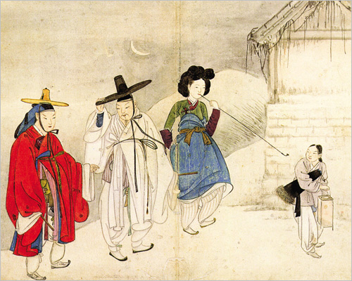 A painting by Shin Yun-bok, produced between the 18th century and early 19th.