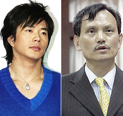 Kim Tae-chon (right), former boss of a crime syndicate, who was indicted for threatening the actor Kwon Sang-woo. /Yonhap