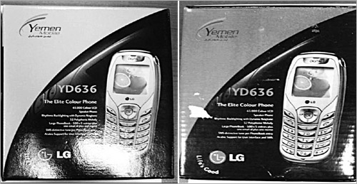 An authentic LG phone (left) and its counterfeit confiscated in Yemen.