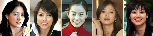 From left, Lee Young-ae, Lee Hyo-ri, Kim Tae-hee, Song Hye-kyo and Lee Na-young