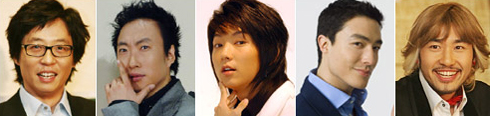 From left, Yoo Jae-suk, Park Myung-soo, Lee Jun-ki, Daniel Henney and No Hong-chul