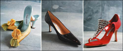 From left, Marie Antoinette limited edition shoes, Maripum made from crocodiles skin, and crystal-encrusted shoes by Manolo Blahnik