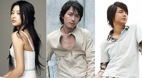 From left, Jeon Ji-hyun, Jung Woo-sung and Zo In-sung