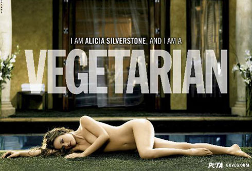 This 2007 file photo, supplied by People for the Ethical Treatment of Animals, shows actress Alicia Silverstone appearing naked in a print ad to promote vegetarianism, produced by the PETA. /AP