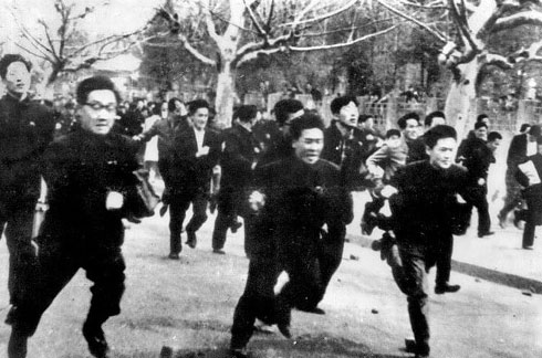 Seoul National University students come out of the campus to join protests on April 19, 1960.