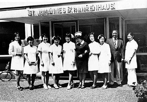 Korean nurses working in the St. Johannes Krankenhaus Hospital in West Germany. They were praised for their kindness and diligence.