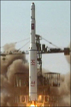 A video grab shows the launch of a missile in Musudan-ri, North Korea on Sunday. /AP