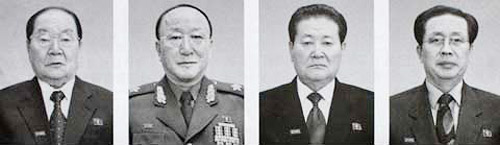 From left, Jon Byong-ho, Secretary of Military Industry; Kim Il-chol, First Vice-Director of the Ministry of Peoples Armed Forces; Paek Se-bong, Chairman of the Second Economic Committee; Jang Song-taek, Director of the Administrative Department of the Workers Party