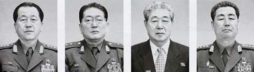 From left, Ju Sang-song, Minister of Public Security; U Dong-chuk, Deputy Chief of the Secret Police; Ju Kyu-chang, First Vice-Director of the Ministry of Defense Industry; Kim Jong-gak, First Vice-Director of the General Political Department of the Peoples Army