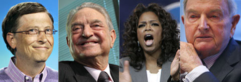 From left, Bill Gates, George Soros, Oprah Winfrey and David Rockefeller /Bloomberg
