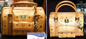 Authentic MCM bag (left) and duplicate. Original goods have interior tags with an identification number and rotating ornamental screws. /Courtesy of Korea Customs Service