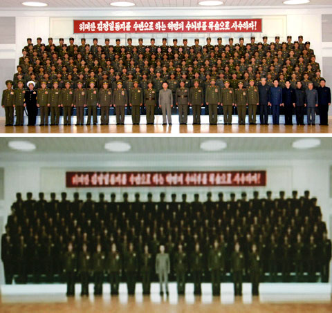 A photo of Kim Jong-il during his visit to the 851st Unit of the Peoples Army released by North Korean media on April 25 (top) and a photo of Kim purportedly visiting the 7th Infantry Division, released on June 14 (bottom) /North Korean Central Television Station