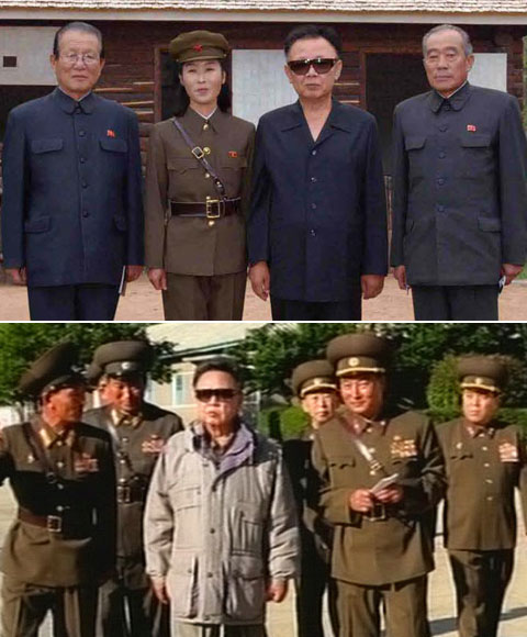 Kim Jong-il wears spring clothes in a photo released by North Korean media on May 24 (top) but winter clothes in a photo purportedly taken on June 14 (bottom). / North Korean Central Television Station and North Korean Central News Agency