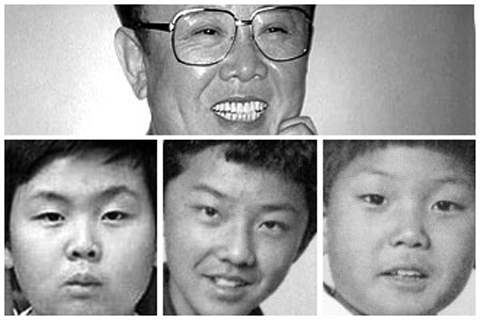 North Korean leader Kim Jong-il (top) and his three sons as pictured in Newsweek. Bottom from left, Kims first son Jong-nam, second son Jong-chol, and third son and heir apparent Jong-un /Courtesy of Newsweek
