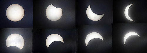 The phases of the solar eclipse as observed in Haeundae Beach, Busan on Wednesday (clockwise from top left) /Newsis