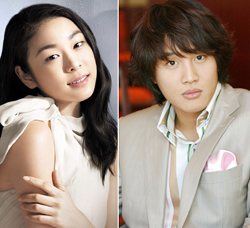 From left, Kim Yu-na and Cha Tae-hyun
