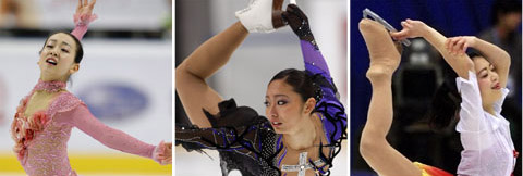 From left, Mao Asada, Miki Ando and Akiko Suzuki