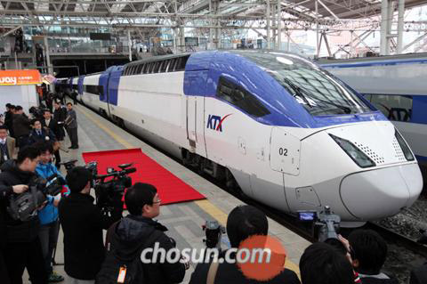 The KTX-II train is revealed to the press on Thursday.