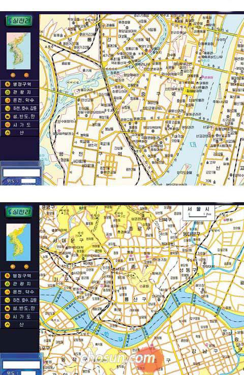 Maps of Pyongyang (top) and Seoul (bottom) in the North Korean e-map of the Korean Peninsula