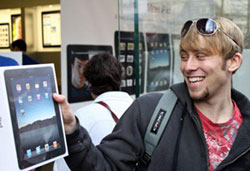 Ryan Brown with his new iPad outside the Apple store in Bethesda, Maryland on April 3, 2010.