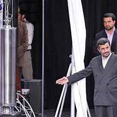Irans President Mahmoud Ahmadinejad, after unveiling a third generation of domestically built centrifuge, on April 9, 2010. /AP