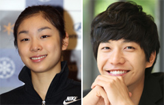 Kim Yu-na (left) and Lee Seung-gi