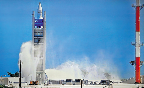 Fire-extinguishing foam billows around the KSLV-1 rocket launch pad on Wednesday afternoon. /Courtesy of Korean Broadcasting System