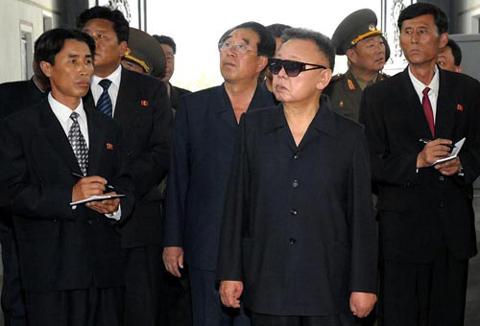 North Korean leader Kim Jong-il inspects Bukjeong Machinery Complex in North Pyongan Province in this undated photo released Sunday by the [North] Korean Central News Agency. /KCNA-Yonhap