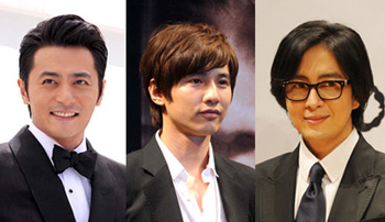 From left, Jang Dong-gun, Won Bin, and Bae Yong-joon