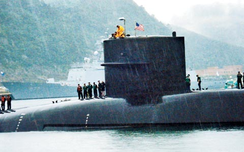 The U.S. nuclear-powered  submarine Michigan is docked at Busan Naval Operations Base late last  month. /Courtesy of the website of the U.S. Navy