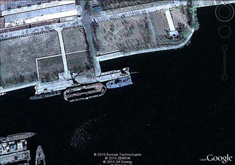 This Google Earth satellite photo released Wednesday shows a hovercraft docked at a shipyard in Nampo, South Pyongan Province in North Korea. /Courtesy of the Ministry of National Defense