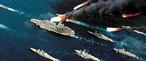 An artists impression of Chinese missiles attacking a U.S. aircraft carrier /Courtesy of China National Radio