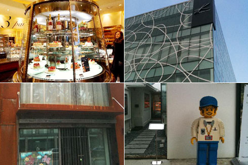 Clockwise from top left, Passion Five, The Spice, an alley on Comme des Garçons Street, and a branch of Rhee Chong Myung Design Studio