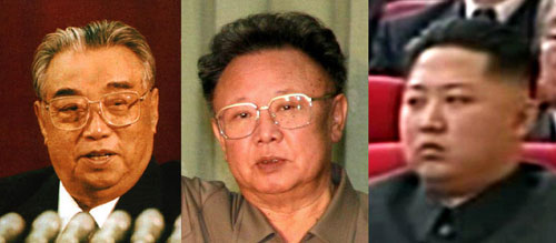 From left, Kim Il-sung, Kim Jong-il and Kim Jong-un