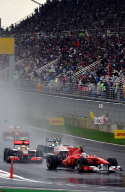 Drivers race in the Formula One Korean Grand Prix in Yeongam, South Jeolla Province.