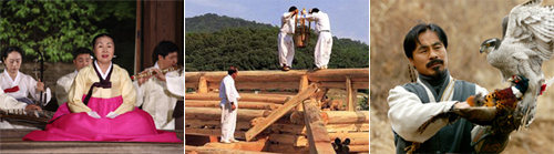 Three Korean intangible properties included in the UNESCO List of the Intangible Cultural Heritage of Humanity. From left, a performance of a traditional poetry from the Chosun era, building a traditional home supervised by a wood craftsman, and falcon hunting /Courtesy of Cultural Heritage Administration