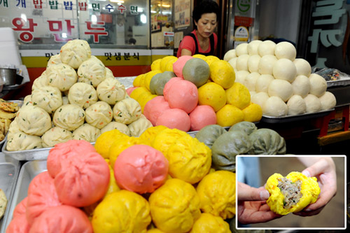 Colorful dumplings sold in the Sinpo Market