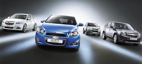 From left, the Lacetti Premier, Aveo, Captiva and Orlando /Courtesy of GM Daewoo