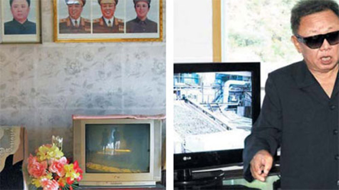 LG TVs are shown in the home of North Korean official in Rajin-Sonbong (left) and during a visit by North Korean leader Kim Jong-il to the March 5 Youth Mine. /KCNA