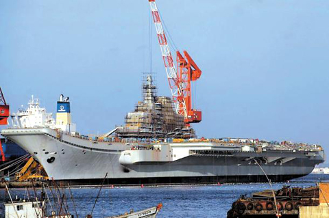 The Varyag, an aircraft carrier from the former Soviet Union, is being remodeled at Chinas Dalian Port.