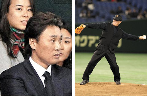 Left: Lee Seung-yeop of the Orix Buffaloes watches the game from the dugout; Right: Jang Hun throws the first pitch of the game. /Courtesy of Sports Nippon
