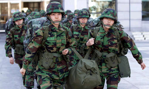 Cadets of Koreas first Women Reserve Officers Training Corps leaves Sookmyung Womens University to join training at the Army Cadet Command in Seoul on Monday.