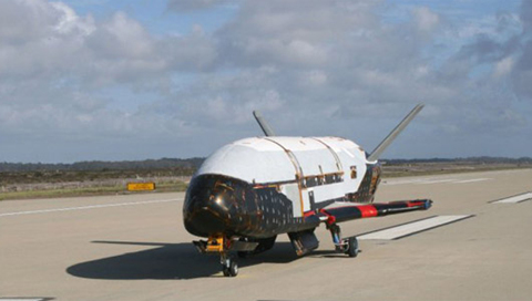 The U.S. pilotless upper-atmosphere military spaceship, the X-37B /Courtesy of the U.S. Air Force