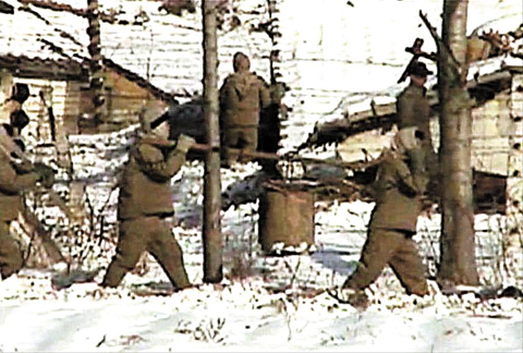 This video grab from Fuji TV in February 2004 shows a concentration camp for political prisoners in Yodok, South Hamgyong Province. /Fuji TV