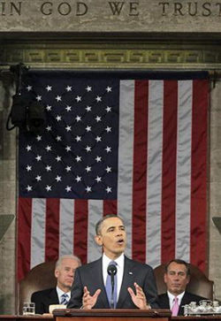 President Barack Obama delivers the State of the Union Address on Capitol Hill on Jan. 25, 2011. /AP
