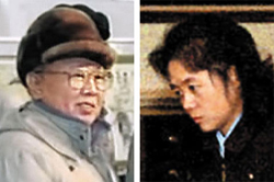 Kim Jong-il (left) and Kim Ok