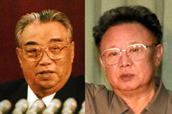 Kim Il-sung (left) and Kim Jong-il
