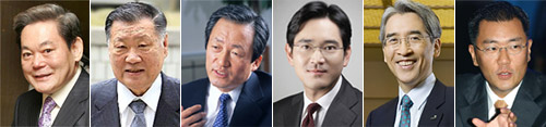 From left, Lee Kun-hee, Chung Mong-koo, Chung Mong-joon, Lee Jae-yong, Shin Chang-bae and Chung Eui-sun 